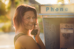 Samantha Jo (rhn3photo) Tags: 2016 august gardencity girl model outdoor people portrait purplehair southcarolina blueeyes sc woman payphone flare lensflare smiling phone goldenhour happy