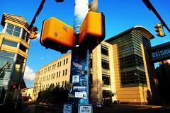 traffic light (xviiij) Tags: college school street traffic light road sticker cloud sky windows spring walking back building stop sign push