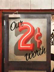 Our 2c Worth (Steve Taylor (Photography)) Tags: ymca festival spectrun 2c our worth door hinge art impressionist streetart graffiti tag sign brown red newzealand nz southisland canterbury christchurch shadow spectrum