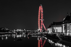 DEC_3697 (Photography By Robert Young) Tags: london night longexposure d800 westminster bridge thames londoneye embankment 2470mm red colourpop black white the city