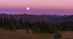 Fool Moon over Cascades (Mt Rainier NP, WA) (Sveta Imnadze. (Will be away for a while. Have ver) Tags: nature landscape mountains cascades sunset moonrise mtrainiernp wa