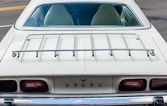 Triple white (GmanViz) Tags: gmanviz color car automobile detail nikon d7000 1973 dodge challenger rallye trunklid luggagerack taillights bumper roof interior