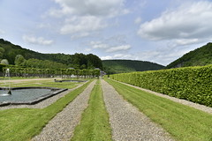 Chemins le long des pelouses (Flikkersteph -4,000,000 views ,thank you!) Tags: springtime garden waterpool fountain tranquillity landscape nature footpaths reflecting wonderful hills slopes cloudy shadow trees foliage castle hastire wallonia belgium