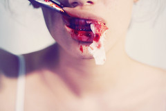 A Brief Love Affair (Paula Sprenger) Tags: red portrait woman flower love broken girl strange canon mouth neck photography 50mm weird fight hurt blood model jaw tissue teeth bra gore torso swollen disturbing wound dentist scar broke pliers scad