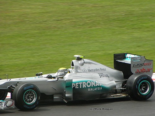Nico Rosberg in his Mercedes at the 2011 British Grand Prix at Silverstone