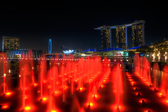 A Ship on a Building, Water on Fire  Welcome to Singapore!!! (Sprengben [why not get a friend]) Tags: city longexposure travel light summer sky urban orchid art water fountain