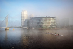 Fog at the Quays... (Chrisconphoto) Tags: mist painterly fog manchester mood freezing salfordquays uni rowers goodlight