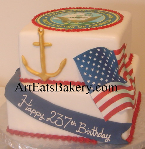 Groovy Two Tier Square Custom Red White And Blue U S Navy Birthday Cake Funny Birthday Cards Online Alyptdamsfinfo