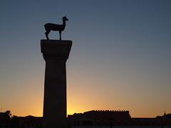 Deer of Rhodes (Axiraa) Tags: sunset sculpture statue island greek harbor europe aegean deer greece rodos rhodes mandraki rhodos dodecanese rodhos  dodeknisa