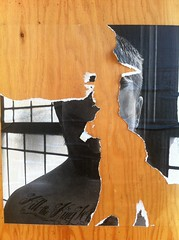 Torn (davitydave) Tags: sf sanfrancisco california wood shirtless blackandwhite selfportrait streetart man male guy pasteup tattoo ink paper print graffiti photo wheatpaste dude castro bayarea torn publicart tear xerox dubocetriangle sfist selfie joshnece killthekingwhereloveisthelaw