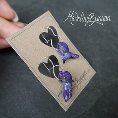 "Purple Bird Earrings • <a style=""font-size:0.8em;"" href=""https://www.flickr.com/photos/37516896@N05/8104745831/"" target=""_blank"">View on Flickr</a>"