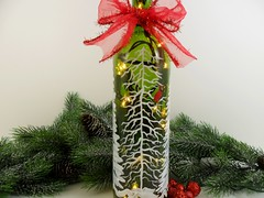 Lighted Wine Bottle Cardinal White Forest Hand Painted 750 ml (Painting by Elaine) Tags: lighting christmas trees winter white holiday cardinal painted decoration handpainted winebottle homedecor snowscene redbird winterscene paintedglass paintedbottle accentlight handpaintedglass winebottlelights lightedwinebottle paintingbyelaine lightedbottle winebottlelighted