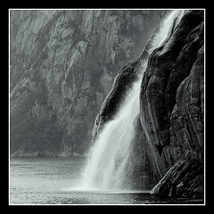 Lysefjord (PeterCH51) Tags: blackandwhite bw nature water monochrome norway square stavanger waterfall squareformat fjord scandinavia lysefjord 5photosaday mywinners flickraward peterch51 flickrtravelaward