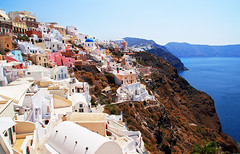 Oia Santorini Greece (TOTORORO.RORO) Tags: travel blue white color tourism church island greek volcano mirror landscapes mediterranean day sony aegean medieval clear santorini greece beaches translucent alpha greekislands hdr oia cyclades slt thira fira a55