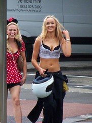 Waterloo Blondes (Waterford_Man) Tags: street shirtless summer people hot sexy london girl smile skin path candid stomach belly blonde biker midriff tanned midrift