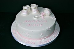 Aurelia's Christening Cake ..... (abbietabbie) Tags: pink flowers baby white green cake strawberry shoes icing christening marzipan madeira rattle fondant buttercream conserve