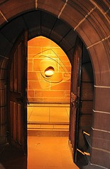Anglican Cathedral Liverpool chapel doorway (Amidared) Tags: uk light england building liverpool amber nikon doors cathedral britain interior churches chapel archway sculptures merseyside liverpoolcathedral anglicancathedral wallsculpture liverpoolanglicancathedral n