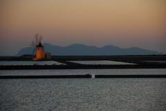 non pensare (Antonio_Trogu) Tags: sunset sea italy mill fog night italia tramonto mare lagoon sicily laguna saline saltflats sicilia mulino trapani antoniotrogu