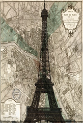 Vintage Map and Eiffel Towler (GCF Photography) Tags: city paris france tower texture architecture vintage french europe european map eiffel icon structure iconic