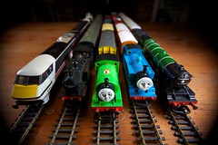 Thomas, Percy and friends (peet-astn) Tags: friends toys track thomas trucks 1980s vignetting intercity percy trainset thomasthetankengine flyingscotsman sigma1020mm jinty