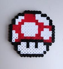 Red Mushroom (eightbitgreatness) Tags: design beads dr nintendo 8 mario nes met coaster magnet bit wholesale perler megaman