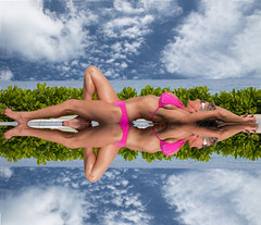 Two's a crowd! (Pete 5D......) Tags: pink blue 2 two sky woman reflection sexy clouds pose imac bikini tropical symmetric symmetrical rest billabong tropics lay laying ef2470f28lusm canon5dmarkii mygearandme mygearandmepremium mygearandmebronze