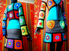 Granny Square Bolero And Granny Square Skirt (babukatorium) Tags: pink blue red orange black flower color green art love wool fashion yellow felted vintage woodland circle square grey sweater rainbow colorful warm purple heart recycled handmade mosaic turquoise teal burgundy oneofakind crochet moda peach violet style felt retro used bow button hippie ribbon patchwork psychedelic applique tulle remake embellished cardigan bohemian multicolor shrug whimsical renew darkblue bolero haken hkeln emeraldgreen croch grannysquares ganchillo royalblue fuxia upcycled uncinetto handdecorated  coprispalle tii horgolt uvgreen babukatorium