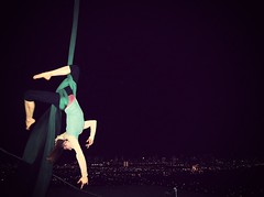 .circus in the sky. (Lsjourney) Tags: nightscape aerial hanging silks blogday hintofpink lsjourney