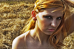 The Model SV (Make Studio   Marty Coleman) Tags: winter woman sunlight cold girl face grass mouth nose intense model eyes skin wind lips blonde stare collar shoulder