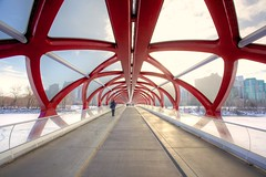 Cool! Thanks for Explored! (John in Calgary) Tags: city trees winter red urban white canada calgary skyline river alberta calatrava bowriver peacebridge jpandersenimages