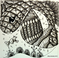 Plaid Dragonfish (Scrapacat) Tags: fish copic zentangle zendoodle tsp016