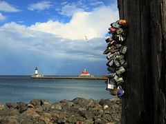 Duluth Love Locks  (Explore 07/21/2016) (BreezyWinter) Tags: lovelocks duluth minnesota usa lakesuperior lake pier lighthouse shoreline water sky rocks walk clouds