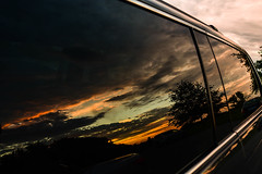 End of the Day Reflections (vainapur) Tags: sun sky sunlight serene simple shilloute sunset summer simplethings clouds cloudy sunrays nature naturespainting painting naturespallete naturescolors naturallight twilight odyssey reflection mirror glass light honda
