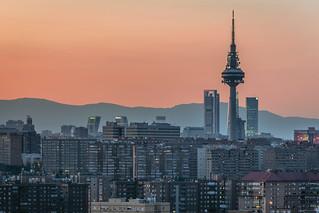 Madrid skyline during sunset