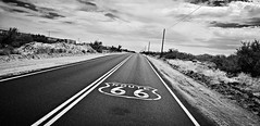 along the mother road... (BillsExplorations) Tags: route66 motherroad old vintage barren desolate desert mountains railroad train bnsf unionpacific highway road sign goffs california telegraphtuesday telegraph power closed decommisioned historic htt forgotten