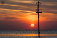 Not so foreign shores (alun.disley@ntlworld.com) Tags: sunset seascape weather colours water wirral birdsinflight nature portsandharbours tidemarker vista clouds rivermersey uk