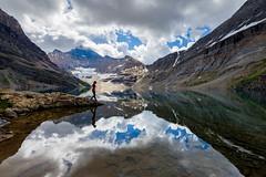 Alpine Mirror (DeviantOptiks) Tags: lakeohara mirror reflection mountains alpine nikon canadianrockies yohonationalpark hiking adventure selfportrait thenorthface mcarthurlake britishcolumbia canada nationalpark camping