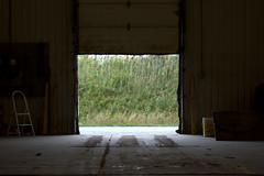 wilderness door (Stanstead, Quebec) (Justin van Damme) Tags: wilderness door open garage shop warehouse ladder bucket green weeds hill cloudy tracks