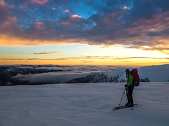 Sunset atop Lendenfeld Point (Try Angus) Tags: backcountry ski skiing telemark mt mount bogong falls creek mountains outdoor outside wxplore australia wanderlust hike snow winter national park parks victoria alpine olympus