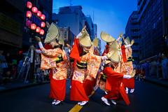 Red Kimono Dancers in Blue Hour - Nihoren @ Mitaka Awaodori (Apricot Cafe) Tags: awaodori canonef1635mmf28liiusm japan mitaka mitakaawaodori nihoren tokyo dancing festival performance summer    mitakashi tkyto jp img648951