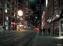 ... (Jean S..) Tags: night toronto lights street sidewalk urban city people line building dark