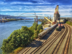 Grain Tracks (Ian Sane) Tags: ian sane images graintracks grain elevator train tracks lines willamette river freemont bridge architecture northeast portland oregon lloyd district phoneography iphoneography apple iphone 6 six plus smartphone cell phone