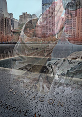Closeup of the September 11th Memorial honoring the victims of the Pentagon with double exposure effects applied using Topaz Texture Effects (mharrsch) Tags: september11 911 terror monument memorial newyork pentagon sacrifice victim architecture mharrsch