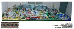 Bricksburg 2.0 - Fall 2016 Upgrade (EVWEB) Tags: lego minifigures bricksburg city citt diorama plastico big tunnel train monorail power functions motorized sound light effects amusement park fairground rides