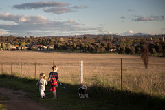 Walkies (MattFinishPhotos) Tags: dog canberra walk walkies brothersister sister brother holdhands goldenhour