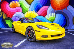 Monicas Corvette with Rainbow Snake Wall in HDR 2 closeup copy (RoryMad Studios) Tags: hdr corvette chevrolet yellow murals shineproject shine stpetersburg florida