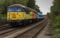 Colas Railfreight class 56/0 no 56087 passes through Mansfield Woodhouse Station on 30-09-2016 with a York to Gloucester RHTT movement. (kevaruka) Tags: mansfield mansfieldwoodhousestation nottinghamshire class56 grid colasrailfreight rhtt robinhoodline railway rail networkrail britishrail brush 56087 56302 yellow orange kevinfrost colour colours england september 2016 autumn clouds cloudy cloudyday flickr frontpage thephotographyblog ilobsterit composition locomotive heritage historic trains train outdoor outdoors canon canoneos5dmk3 canon5dmk3 canon70200f28ismk2 5d3 5diii 5d 5dmk3