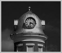 Patterson Building, Maxton NC (Philip Osborne Photography) Tags: bw building tower clock architecture takumar patterson pidgeons f25 135mm exteriors bayonet maxton