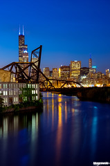 This is the color blue (Brian Koprowski) Tags: park city bridge chicago skyline architecture tom night skyscraper reflections lights evening illinois memorial downtown pentax searstower bluehour chicagoriver hancock ping hdr trumpinternationalhotelandtower willistower pentaxk5 briankoprowski bkoprowski