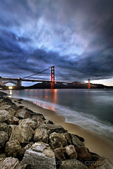 FORT POINT  **EXPLORE** (Andrew Louie Photography) Tags: bridge sunset love beach clouds point golden gate san francisco rocks peace fort joy jazz wave